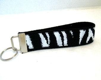 Zebra Keychain  Animal Print Key Fob Key Chain Wristlet