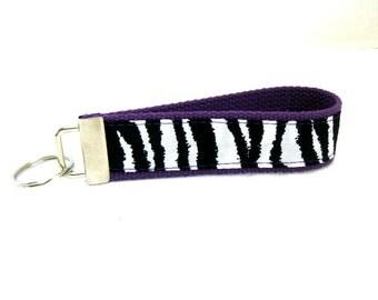 Zebra Keychain PURPLE Animal Print Key Fob Key Chain Wristlet