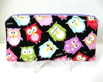 Owl Zipper Pouch - Padded Gadget Case - Owls Make Up Bag - Sleepy Owls Zip Pouch
