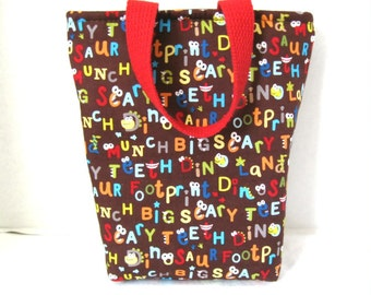 Dinosaur Tote Bag - Small Dinosaurs with Words Bag - Dinosaur Purse