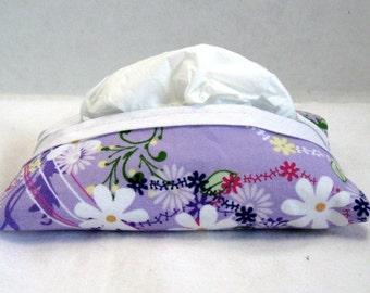 Floral Pocket Tissue Cozy Lavender Fabric Tissue Holder