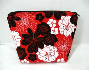 Floral Make Up Bag Chinese Red Zipper Pouch