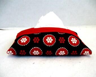 Floral Tissue Case Black Red Pocket Tissue Holder