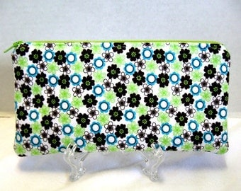 Tiny Flowers Pouch Zippered - Floral Zip Pouch - Lime Green Teal Brown - Padded Gadget Case