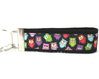 Owl Key Fob Owls Key Chain Large Wristlet BLACK