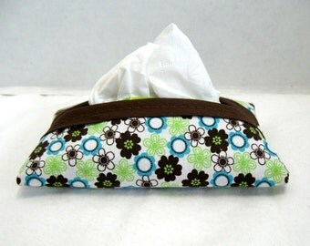 Tissue Holder Teal Floral