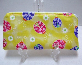 Ladybugs Zipper Pouch - Yellow Padded Supply Case - Glitter Fabric Makeup Bag