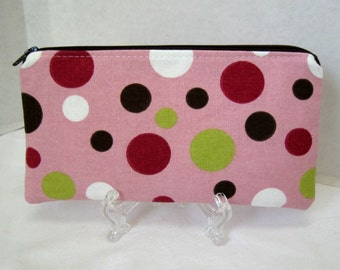 Dots Zippered Pouch - Pink Brown Celery Circles - Dot Zip Case - Small Make Up Pouch