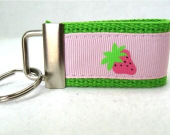 Strawberries Mini Key Fob - Strawberries on  LIME - Small Fruit Keychain - Zipper Pull - Short Key Fob