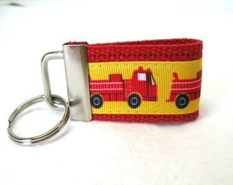 HALF OFF - Fire Truck Key Ring - Small Key Fob - Fire Truck Zipper Pull - Backpack Identifier - Handmade Keychain