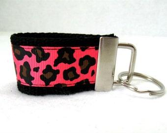 Cheetah Mini Key Fob - Florescent Pink Cheetah - Animal Print Keychain - Small Key Chain - Cheetah Zipper Pull - Cheetah Backpack Identifier