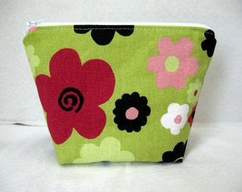 Make Up Bag Floral - Bold Flowers Cosmetic Pouch - Celery Green Zip Case