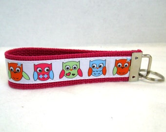 Owl Key Fob - Owls Key Chain - Bird Wristlet Keychain - PINK Large Key Chain
