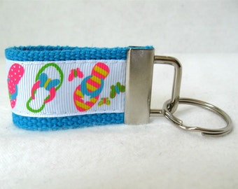 Mini Key Fob Flip Flops - TURQUOISE Key Chain - Summer Shoes Keychain - Flip Flop Key Ring - Handmade Key Ring - Summer Zipper Pull