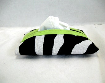 Zebra Tissue Holder Lime Trim Tissue Cozy Tissue Case