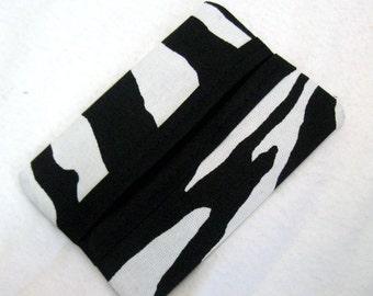 Zebra Tissue Holder Pocket Size Animal Print Tissue Cozy Black White