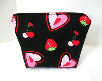 Hearts Cosmetic Bag Strawberries Make Up Bag Cherries Zippered Pouch