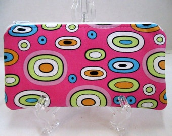 Funky Zipper Pouch - Pink Padded Zip Case - Ovals Cash Holder - Bright Coupon Holder