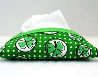 Shamrock Tissue Holder Pocket Size St. Patrick Tissue Cozy