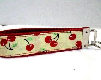 Cherries Key Fob Wristlet Keychain RED