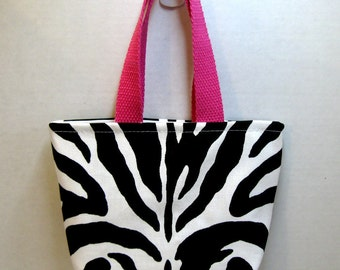 Zebra Mini Purse - Zebra Tiny Tote - Animal Print Gift Bag - Hot Pink Handles - Fabric Gift Bag