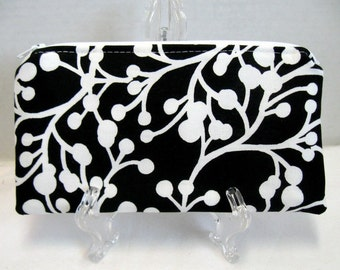 Zippered Pouch - Berries Branches - Black White Zip Pouch - Zip Coupon Holder