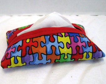 Autism Tissue Holder  -Puzzle Pieces Pocket Size Tissue Cozy - Fabric Tissue Case