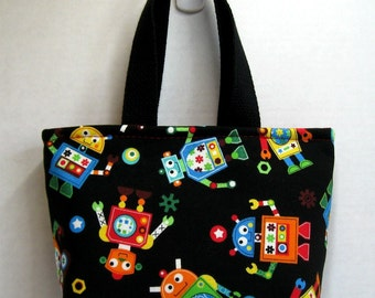 Robots Mini Tote - Robot Purse - Colorful Mini Purse - Geek Bag