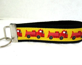 HALF OFF - Fire Trucks Key Fob Key Chain Black Wristlet
