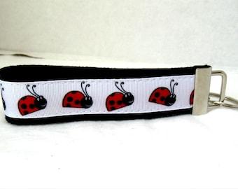 HALF OFF - Ladybugs Key Chain Bugs Key Fob Black Wristlet