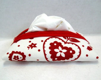 Hearts Tissue Holder Red Flowers Tissue Cozy