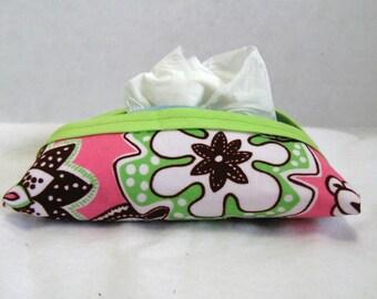 Tissue Holder - Pocket Floral Tissue Case - Pink Brown Lime Green Pocket Size Flowers Tissue Cozy