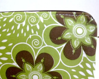 Olive Zipper Pouch - Floral Zip Pouch - Olive Brown Floral - Floral Cash Holder - Floral Supply Case