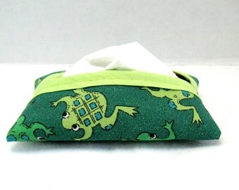 Frogs Tissue Holder Green Tissue Cozy Travel Size