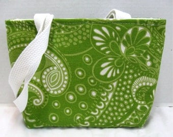 Paisley Small Tote - Lime Paisley Purse - Spring Green Paisley Tote Bag