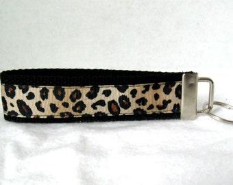 Cheetah Key Chain Key Fob BLACK Wristlet