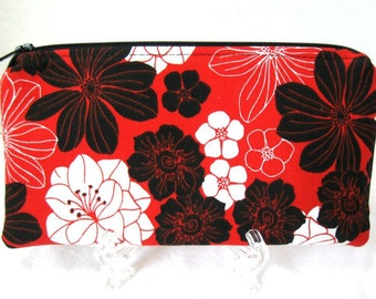 Zipper Pouch Floral - Chinese Red Makeup Bag - Red Floral Cash Holder