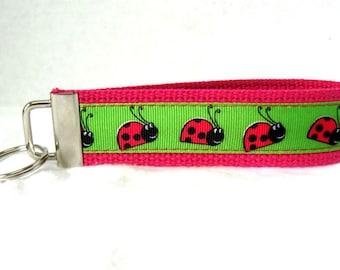 HALF OFF - Ladybugs Key Chain Lady Bug Key Fob Hot PINK Wristlet