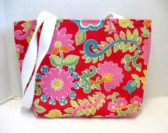 Red Floral Purse - Medium Tote Bag -  Bright Flowers Handbag