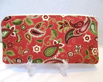 Paisley Zippered Pouch - Coral Paisley - Make Up Bag - Padded Zip Pouch