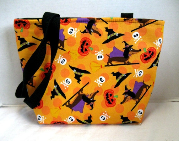 Dachshund Halloween Purse Tote Medium Wiener Dog on Broomstick MADE TO ORDER