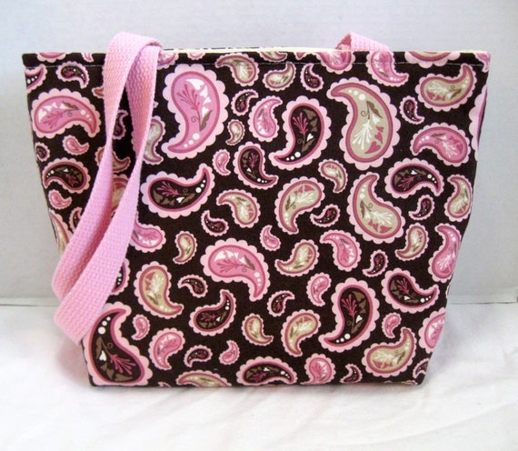 Paisley Purse Tote Medium Brown Pink Inside Pockets
