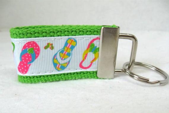 Beach Keychain - Flip Flops Key Fob - Summer Key Ring - Flip Flop Zipper Pull - Luggage Identifier - LIME Keychain - Handmade Key Ring