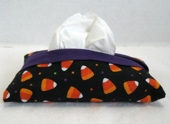 HALF OFF Tissue Holder Halloween Candy Corn Travel Size