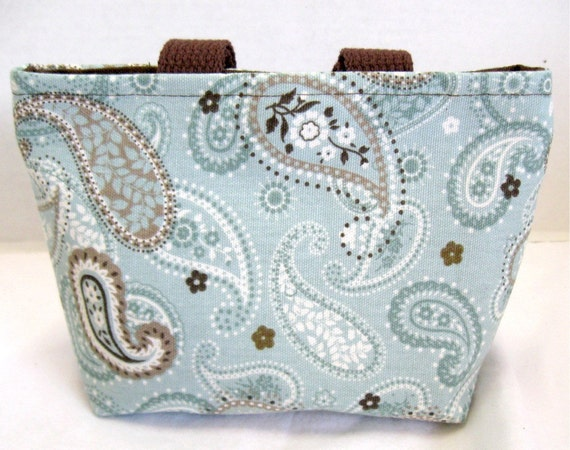 Paisley Mini Tote - Purse Robins Egg - Mini Paisley Purse -  Blue Brown Cream - Paisley Fabric Gift Bag