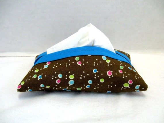Dots Pocket Tissue Holder - Tiny Dots Tissue Cozy - Brown Turquoise Purse Tissue Cover