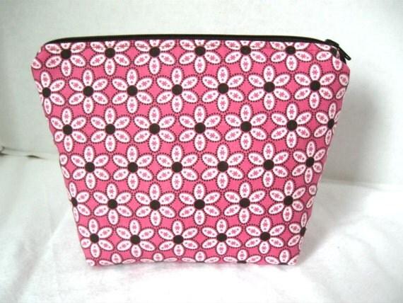 Make Up Bag Daisies Pink Brown Cosmetic Bag