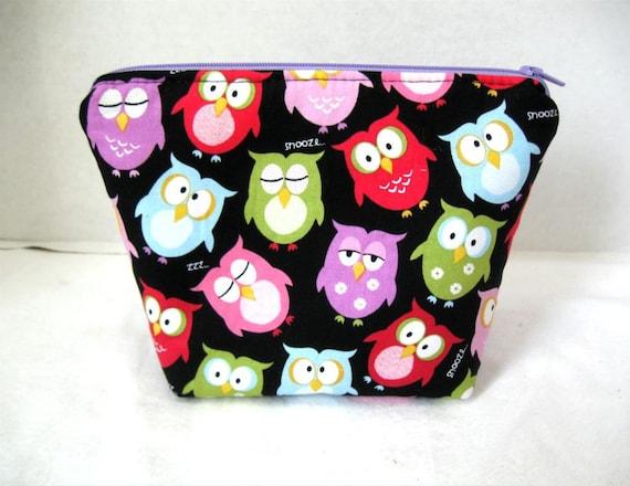 Owl Make Up Bag Black Cosmetic  Flat Bottom Zipper Pouch