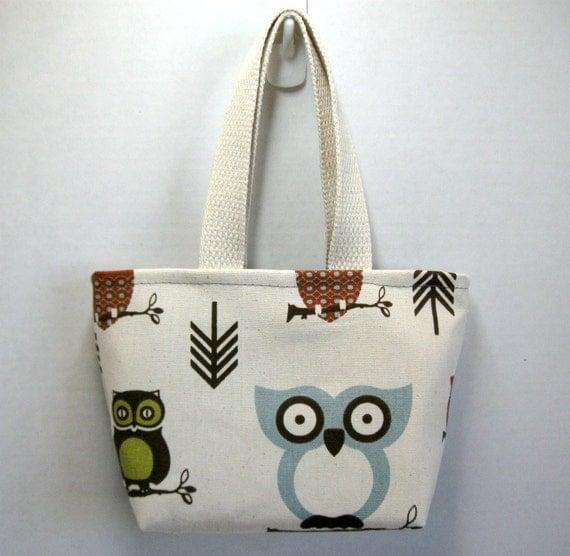 Owl Mini Tote Purse Gift Bag