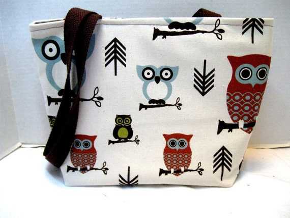 Owls Tote Purse Medium Brown Handles Ready to Ship